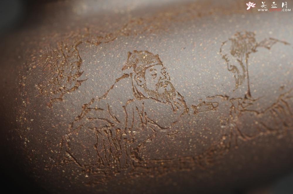 紫砂壶图片:实力派张海艳全手工特好老青灰段泥传炉壶 装饰人物 饮者寿 特文气 - 宜兴紫砂壶网