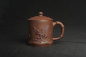 紫砂壶图片:美杯特惠 精致竹段盖杯 紫砂杯茶杯 大鹏展翅 - 宜兴紫砂壶网