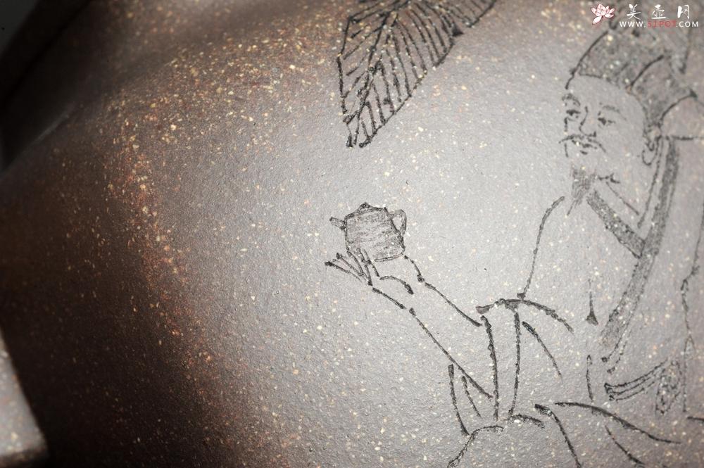 紫砂壶图片:实力派张海艳 全手工油润老青灰段泥重器鸣远四方 气势磅礴 用心之作 装饰人物特文气 - 宜兴紫砂壶网