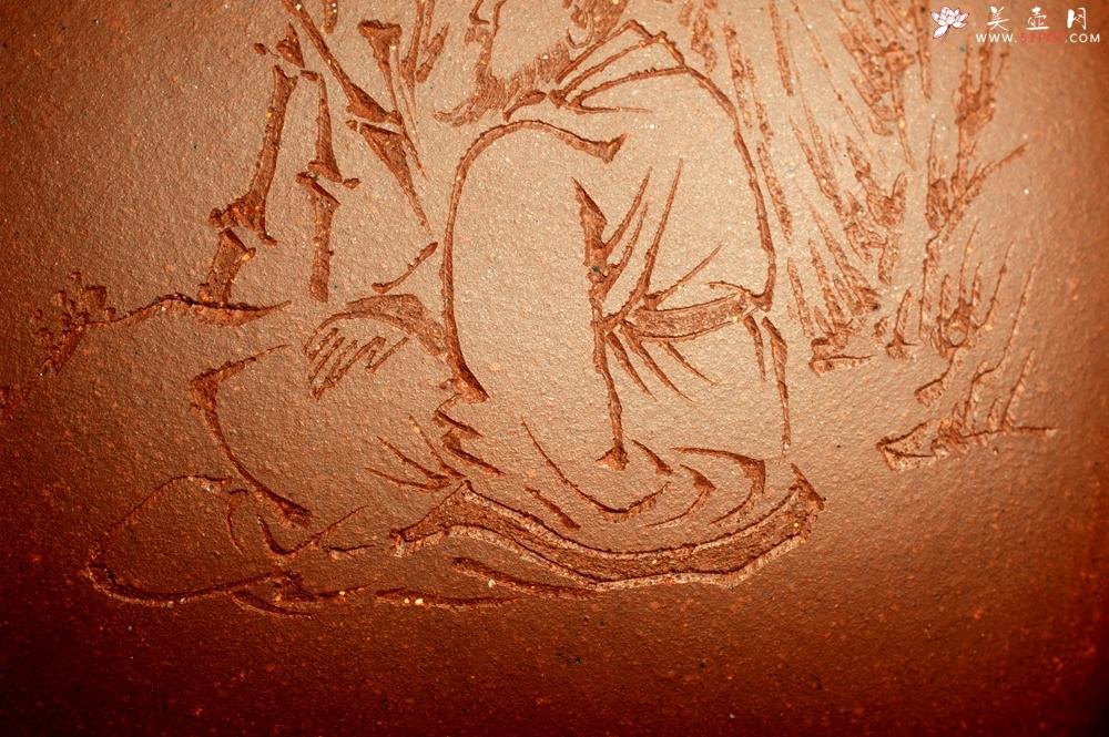 紫砂壶图片:实力派张海艳全手工油润底曹青重器鸣远四方 气势磅礴 用心之作 装饰人物特文气 - 宜兴紫砂壶网