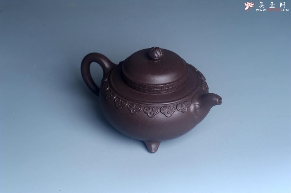 紫砂壶图片:美壶特惠 精致紫泥云肩如意壶 茶人醉爱 - 宜兴紫砂壶网